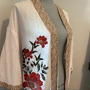 DR2 long open kimono pale pink floral M/L